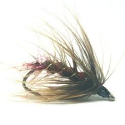 softhackles.blog - palmered hackle wet fly - Claret Olive Palmer