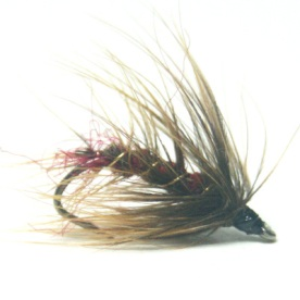 softhackles.blog - palmered hackle wet fly - Claret Olive Palmer