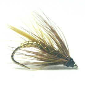 softhackles.blog - palmered hackle wet fly - Medium Olive Palmer