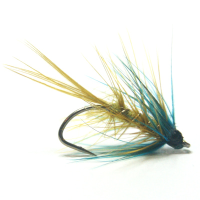 softhackles.blog - palmered hackle wet fly - Golden Olive Bumble