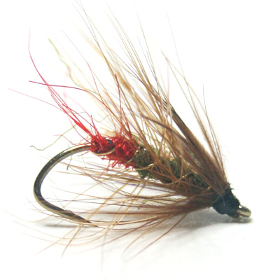 softhackles.blog - palmered hackle wet fly - Green Peter
